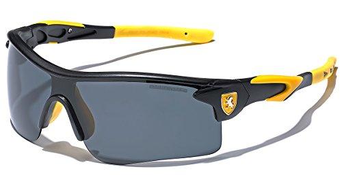 (Premium Polarized Men's Sports Cycling Fishing Baseball Running Sunglasses - Black & Yellow)