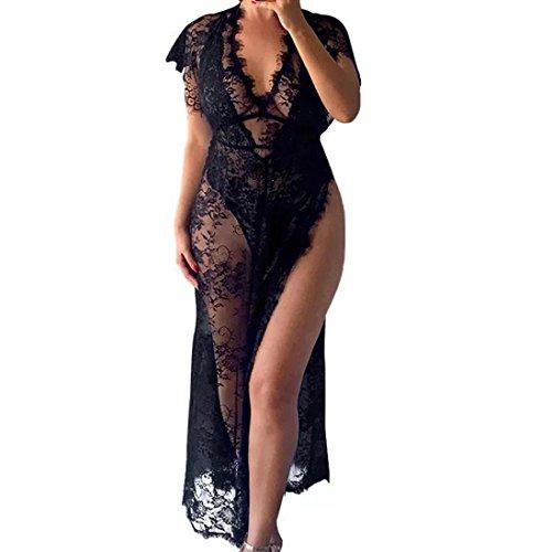 (Women Sexy Lingerie One-piece Kimono Robe Eyelash Lace Long Dress Sheer Nightwear (Black, XL))