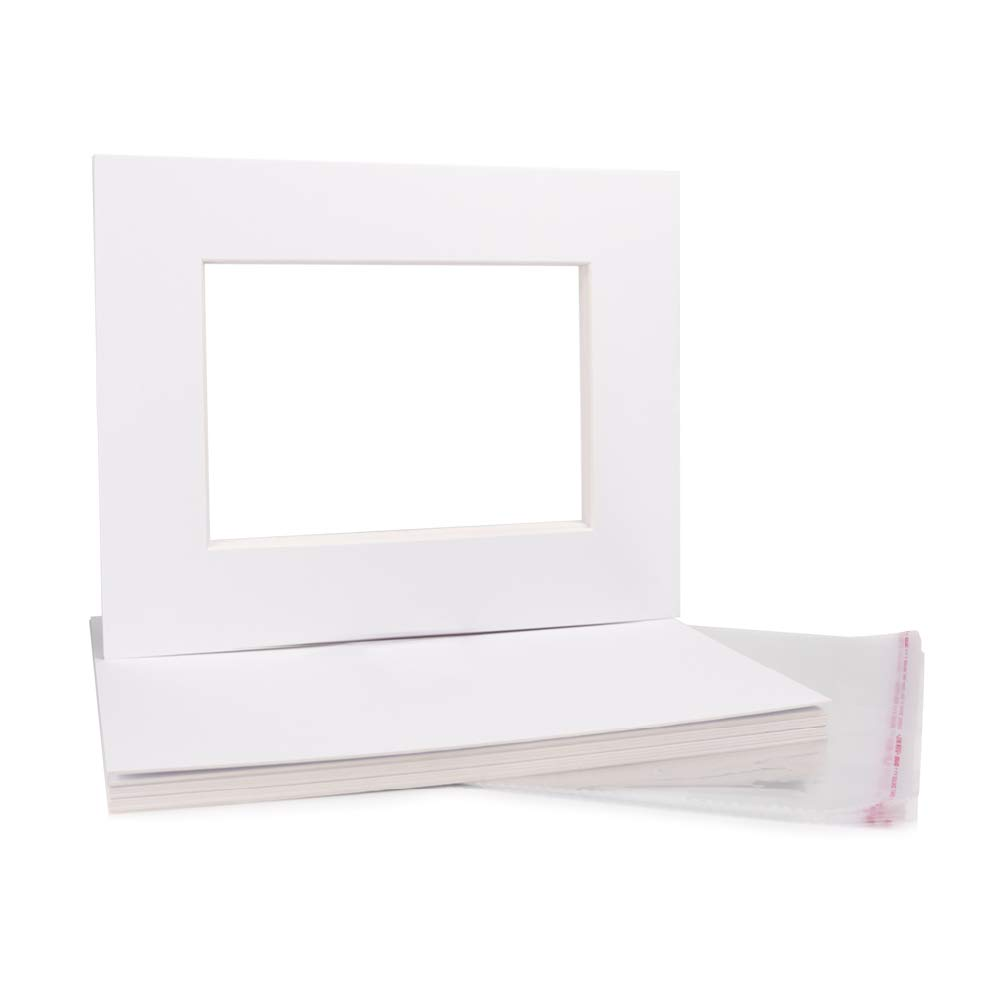 5x7'' White Picture Mats Acid Free,Photo Mattes Set White Core Bevel Cut for 4x6'' Picture (5X7'' Pack of 10 Complete Set)