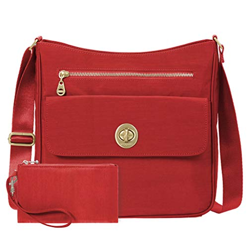 Baggallini Antalya Top Zip Flap Crossbody Bag Travel Wristylet (Hibiscus)
