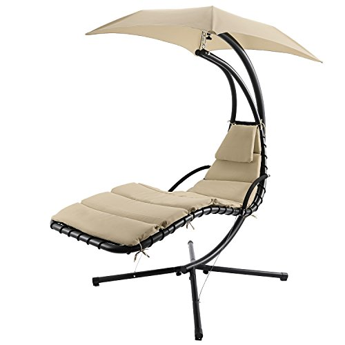 Yuebo 350lbs Hanging Chaise Lounger Chair Arc Stand Removable Canopy Air Porch Swing Hammock Chair with Pillow for Patio Garden Indoor by Yuebo