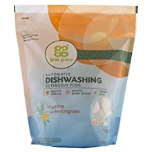 Grab Green Natural Automatic Dishwashing Detergent Pods, Tangerine with Lemongrass, 60 Loads