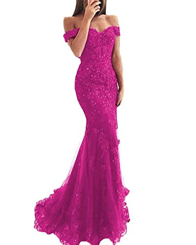 Ruisha Women Lace Beaded Off Shoulder Formal Prom Evening Dresses Gowns Long Mermaid 2018 RS0046 US 14 Hot Pink