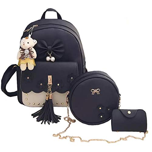 TYPIFY® 3 pieces fashion Pu Leather Women Backpack Korean Style Backpack Teddy Bear Keychain Women Girls College Backpack Bag. Gift for Her