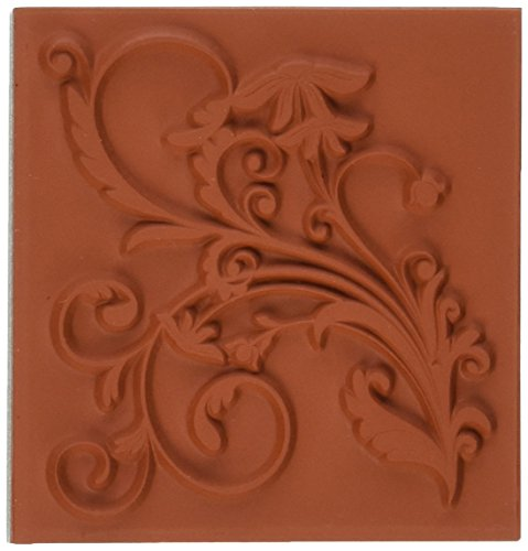 Deep Red Stamps Flourish with Leaves Rubber Stamp