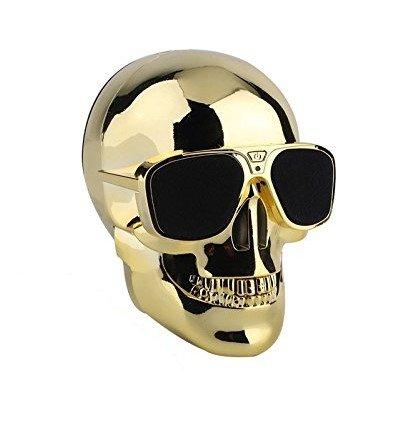 Generic Skull Head Shape Portable Wireless Bluetooth Speaker for Desktop PC/Laptop Notebook/Mobile Phone/MP3/MP4 Player-Golden