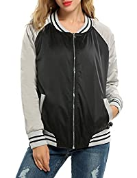 Meaneor Women's Long Sleeve Zip Up Short Bomber Jacket Baseball Coat Outwear
