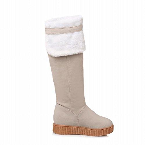 Carolbar Da Donna Fibbia A Doppia Funzione Caldo Comfort Alto Stivali Da Neve Beige Moda
