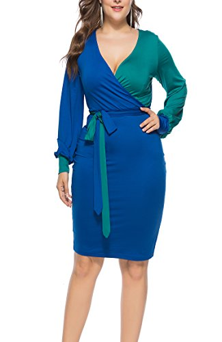 Colorblock Tie (FACE N FACE Womens Sexy Deep V-Neck Midi Bodycon Dresses Long Sleeve Tie Front Colorblock Pencil Dress Large Blue)