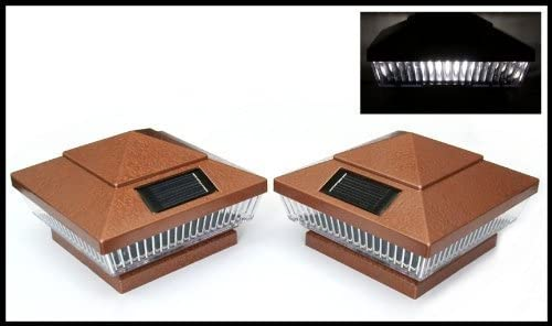 """12-Pack Solar Hammered Bronze Finish Post Deck Fence Cap Lights for 6"""" X 6"""" Vinyl/PVC or Wood Posts With White LEDs and Vertical-lined Clear Lens"""