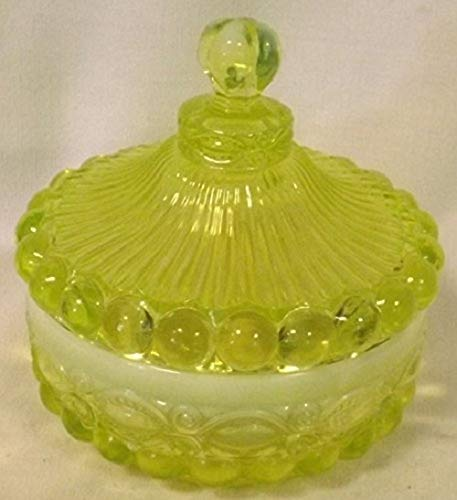 Vaseline Opalescent Glass Covered Candy Dish Eyewinker Pattern