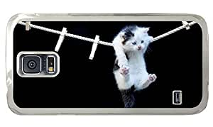 Hipster cute Samsung Galaxy S5 Case hanging kitty PC Transparent for Samsung S5