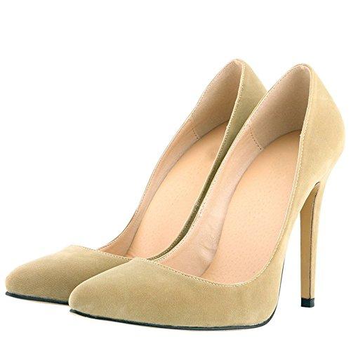 OCHENTA Mujer en muchos colores zapatos de tacon de terciopelo de un banquete de boda Albaricoque