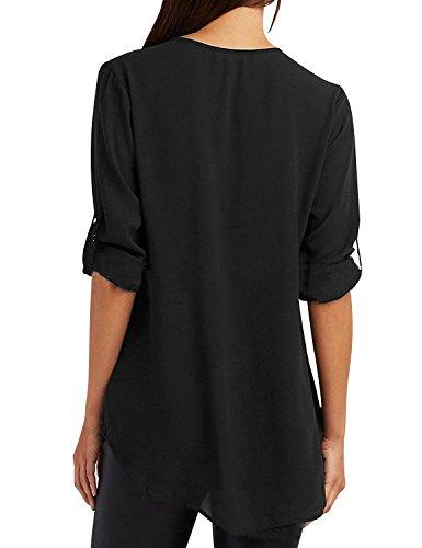 Mode Manches Col JIAJIA Femme Longues Top Noir Mousseline Blouse V Tunique Zipp YL Chemisier nBFFqxY7R