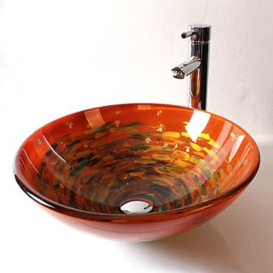 GSYZL Round tempered glass modern bathroom set sink price