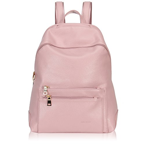 Hynes Victory Faux Leather Backpack for Women Dressy Campus Backpack Purse Lotus Pink