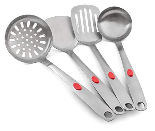 KUKPO Kitchen Cooking Utensils Set: Stainless Steel Cooking Accessories, Ladle, Turner, Slotted Turner And Skimmer, Ergonomic Handle For Comfortable And Strong Grip, Heavy Duty-Durable Modern ()