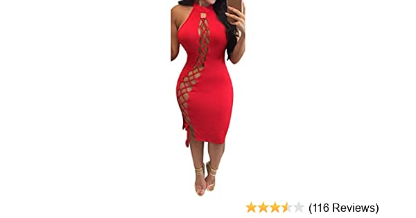 Amazon.com  Meenew Womens Sexy Halter Hollow Out Lace Up Bodycon Bandage  Club Dress  Clothing 5a35f004ccb6