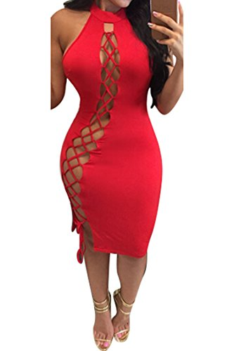 Merry21 Womem's Halter Criss Cross Bandage Hollow Out Cut Out Midi Dress Red -