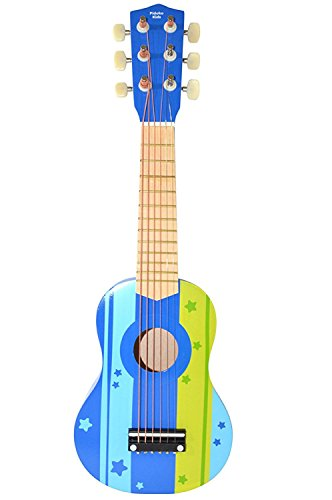 Pidoko Kids Wooden Ukulele Toy Guitar Instrument, Blue - Musical Toys for Toddlers Boys & Girls Strings ()