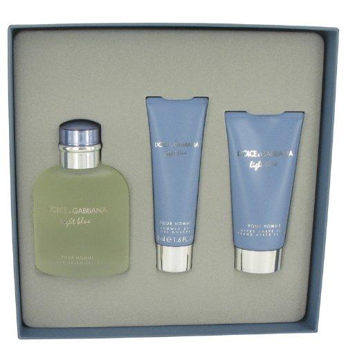 Light Blue by Dolce & Gabbana Men's Gift Set -- 4.2 oz Eau De Toilette Spray + 2.5 oz After Shave Balm + 1.7 oz Shower Gel - 100% Authentic