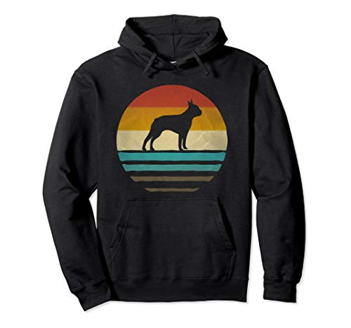 - Retro Vintage Sunset Boston Terrier Dog Breed Silhouette Pullover Hoodie