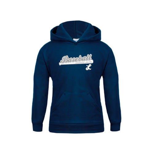 Longwood Youth Navy Fleece Hoodie Baseball Script w// Bat Design