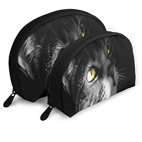 Makeup Bag Hello Shadow Cat Eyes Portable Shell Travel Bags Set Holder For Women,Girls 2 Piece