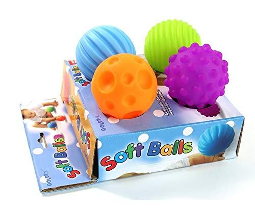 Cadeau Unique et Exquis 4pcs bébé apprentissage précoce jouet bébé main attraper massage balle molle sensorielle avec son (multicolore) gperw
