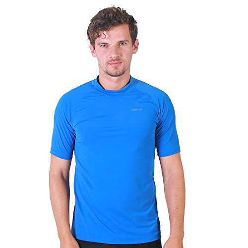 H.MILES Men's Rashguard Swim Shirt UPF 50+ Snorkeling Swimming Surfing Tops Diving T-shirt Bodega Blue 3XL by H.MILES