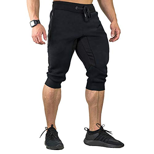 (FASKUNOIE Men's Three-Quarter Capri Pants 3/4 Workout Training Jogger Short Pants Zipper Pockets Black(mesh))