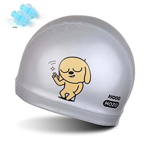 Custom Made Iron Man Suit (HOOG V Kids Fun Swim Cap PU Coating Unique Swimming Hat For Children Boys and Girls Age 2-9 and Ear Plug Combo SET (V Silver))