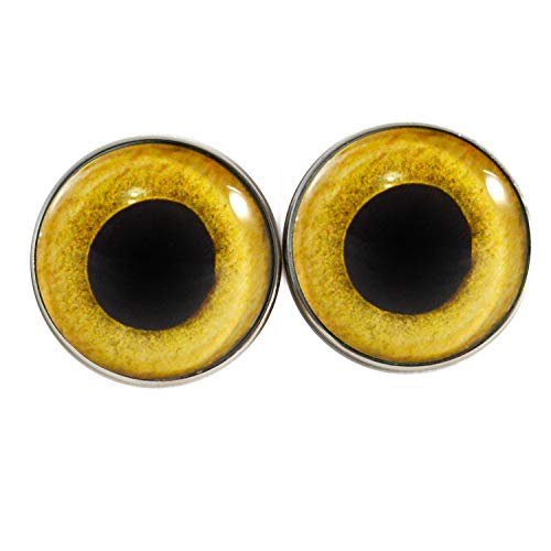 25mm Sew On Yellow Owl Bird Glass Eyes Shank Buttons with Loops - for Stuffed Animals, Plushie Toys, Art Dolls, Jewelry Making, Taxidermy, and More