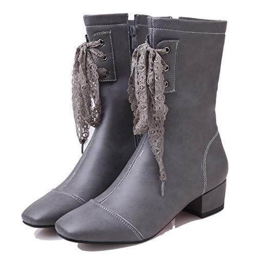 Botines de tacón Medio para Mujer con tacón Medio, Gris, 40: Amazon.es: Zapatos y complementos