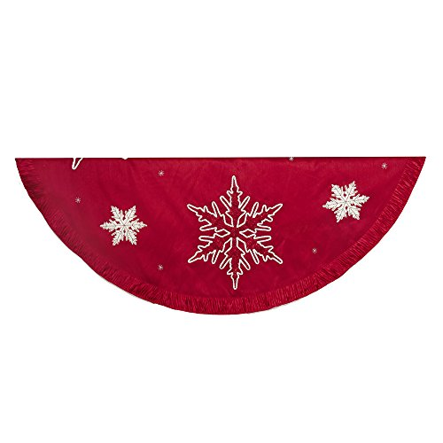 Kurt Adler Snowflake Embroidered and Pleated Tree skirt, 60-Inch, Red - Embroidered Christmas Tree Skirt