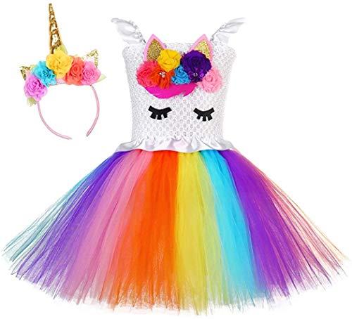 Ballerina Halloween Costume Child (Unicorn Costume for Girls Dress Up Clothes for Little Girls Rainbow Unicorn Tutu with Headband Birthday Gift (L(5T-6T), Unicorn)