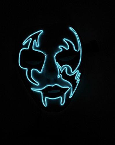 EL Wire Halloween Cosplay Led Mask Light Up Mask for Festival Parties Christmas Gifts Birthday Party Gift Any Parties (one size, White) (Halloween Club Masquerade Masks)