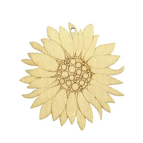 Binwwede DIY Wood Pendant Decorations 10 Pcs Creative Hand-Filled Children's Gifts Family Ornaments With Lanyard (Sunflower)