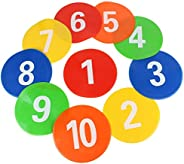 10 Pcs Spot Markers, Numbered Football Signs Disc MarkersTraining Equipment for Kids