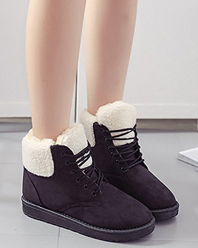 Algodón Botas Negro Zapatos Térmico Botas Plano Talón Cordones Botas Felpa Invierno Forro Martin Mujer Minetom qw4vIZZ