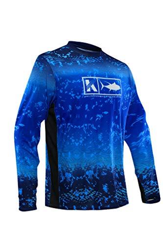 Men's Performance Vented Fishing Shirt Long Sleeve Shirt Mesh Side Vents UPF 50 Dye Sublimation Print Blue ()