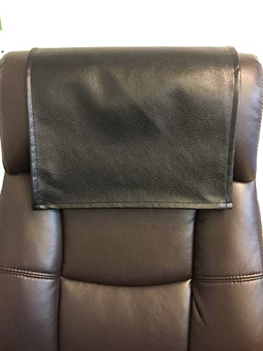 LUVFABRICS Furniture Protector, Recliner, Head Rest, Sofa, Love seat, Leather Protector, Computer Chair, Couch, Faux Leather Vinyl, Suede Backing (Black Ford, 18 X 20 (Set of 2))