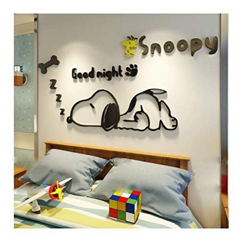 CQMYG. Cartoon Animal Wall Stickers 3D Solid Wall Stickers Self-Adhesive. Environmental Protection. Can be Removed. Acrylic. Give The Child a Gift. Left Version - Black ()