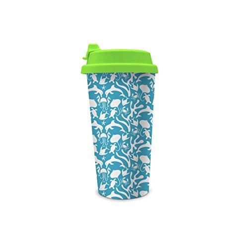 jdfrrv dddd BPA Free Turtle Dolphin Jellyfish Crab Tropical Fish 450ml Double Flip Wall Plastic Print - Peoples Basket Brew