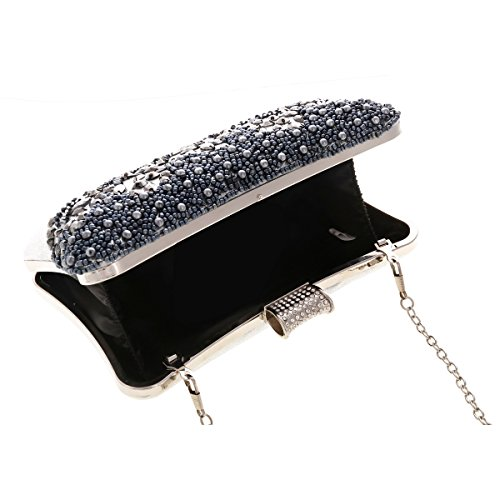 Womens Party Detail Box Glitter Damara Front Metal Champagne Clutch Bead TqgFxwnSdZ