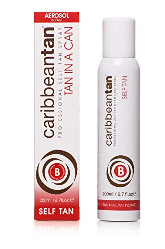Caribbean Tan - Tan in a Can B – Medium Complexion | Sunless Self Tanner | Instant Flawless Fake Tanning Spray for Face & Body | Natural Looking Sun Tanned Beauty Mist | Tanning Solution (6.7 fl oz)