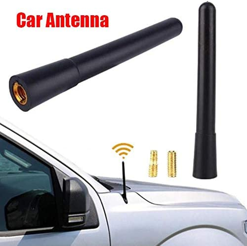 Universal 4.7 Carbon Fiber Short Antenna SIZZLEAUTO Vehicle Car AM//FM Radio Aluminum Black Aerial Stubby Topper Replacement