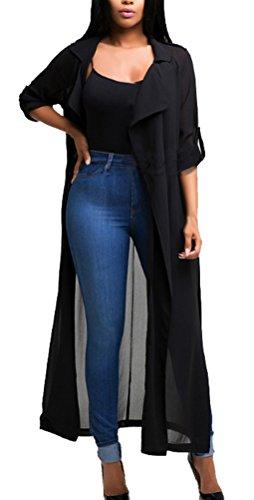 Blansdi Damen Chiffon Cardigan Cover up Tops Bluse Lose Langarmshirt Elegant Sommer Maxi Offene Mantel Outwear Party Cocktail Strandkleid mit Gürtel Schwarz