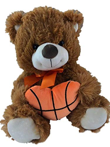 Valentine Plush Brown Teddy Bear with Heart Shaped Basketball Stuffed Animal Pal