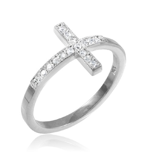 10k-White-Gold-CZ-Sideways-Cross-Ring